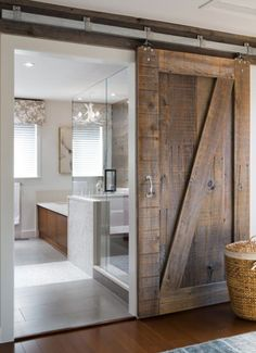 Our plan for our master bathroom door. Get rid of the double door replace w/ barn slider.