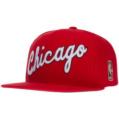 "Chicago Bulls Red ""Chicago"" Script Design Snapback Hat by Mitchell & Ness #Chicago #Bulls #ChicagoBulls"