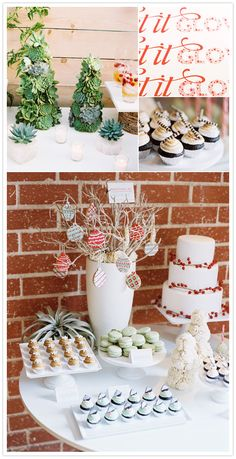 Succulent Christmas trees...how creative. I like the cookie tree too and the berries on the cake :)