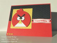 """stampin' up, M stampin' with you, Miriam Castanho Bollinger, demonstrator, punch art, angry bird, 2 1/2"""" circle punch, bitty banner, scallop circle, brights candy dots su"""
