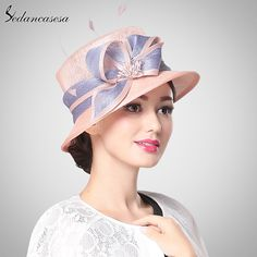 Fashion England Sunscreen Female Banquet Natural Sinamay Hat With Bowknot diamond Light Grey Pink Cap Box Package Isn`t it awesome? #shop #beauty #Woman's fashion #Products #Hat