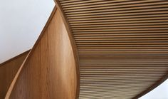 Timber soffit detail to underside of helical staircase.