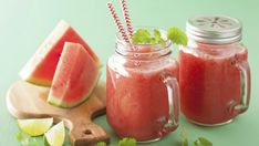 Buy watermelon lime smoothie in mason jars by duskbabe on PhotoDune. watermelon lime smoothie in mason jars Mason Jar Smoothie, Fitness Drink, Gym Fitness, Juice Bar Design, Jus Detox, Ginger Ale, Food Truck, Healthy Dinner Recipes, Cantaloupe