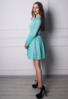 Teal mint lace long sleevd dirndl draped skirt mini dress | AYA Shop | ASOS Marketplace