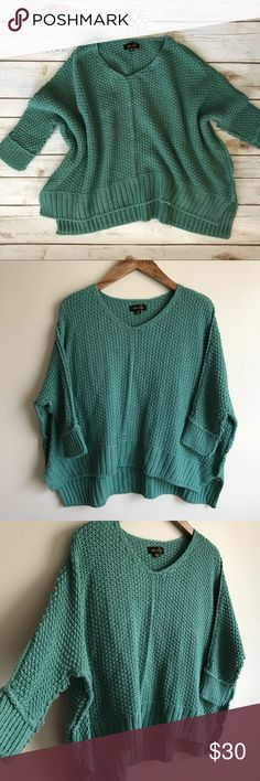 Chunky Teal Sweater Originally purchased from shophopes.com... Dusty Teal color... Oversized, cropped fit... 100% Acrylic... New with tags dee elly Sweaters Crew & Scoop Necks