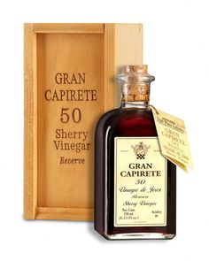 Product: Sherry Vinegar – Reserve. Brand: GRAN CAPIRETE 50. Acidity: 8 %. Variety of grape: Palomino. Aging: 50 years old. Cata: Characterised by its intense mahogany colour and silky texture, its unusual deeply acidic aroma has hints of older wines and reflects its lengthy ageing process in oak barrels. It is from there that it inherits its ample, rounded, dry, well-balanced flavour, with a prolonged acidic aftertaste and hints of dried fruits and spices. www.sherryvinegar.com