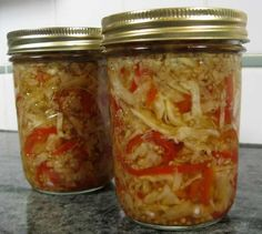 """Pickled Cabbage and Peppers from Food.com: This relish from """"The Joy of Pickling"""" is sour, sweet, and spicy, a great topping for hot dogs or as a side with sausage. Serve hot or cold. makes 4 pints."""