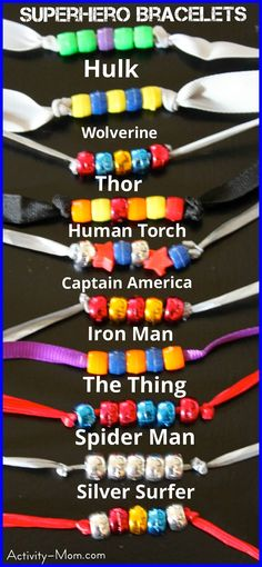 Superhero Bracelets - art - fine motor - sensory Superhero and princess bracelets are a great kids craft for a rainy afternoon or the perfect party favor or activity. All kids can find one they love! Marvel Dc Comics, Activities For Kids, Crafts For Kids, Super Hero Activities, Camping Activities, Camping Games, Indoor Activities, Disney Activities, Crafts Cheap