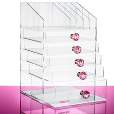 The Ultimate Beauty Organiser with pink Crystal handles