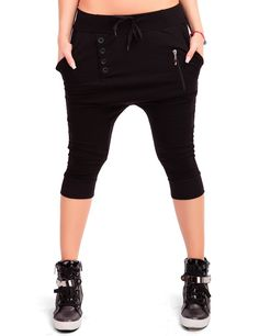 24brands - Damen Harems Hose Aladin Sporthose Freizeithose Fitnesshose Trainingshose Caprihose Shorts Pluderhose- 2916