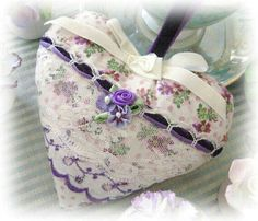 Your place to buy and sell all things handmade Lavender Bags, Lavender Sachets, Fabric Hearts, Fabric Flowers, Valentine Crafts, Valentines, Quilted Christmas Ornaments, Patchwork Heart, Ladybug Crafts