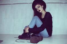Thrift Store Sweater, Flea Market Jeans, Thrift Store Hat, Dr. Martens Boots