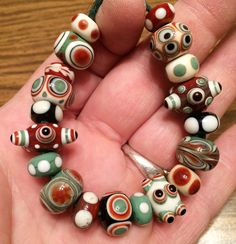 Lampwork glass beads, made by Stephen Parfitt, Springfield Illinois.