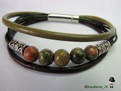 Lederarmband; braun- oliv mit Stein Perlen von Bijouxbaron_24 auf DaWanda.com