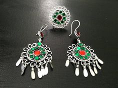 Vintage Afghan Kuchi Tribal Jewelry Set Ring Earrings Set Indian Ethnic jewelry Boho Gypsy Earrings Ring Banjara Jewelry Multicolor Jewelry. by RareFindingsUS on Etsy