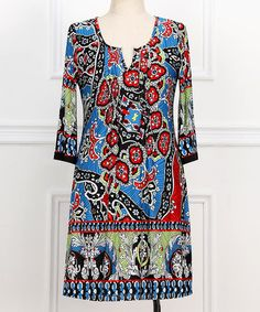 Look what I found on #zulily! Red & Blue Abstract Notch Neck Dress - Plus #zulilyfinds