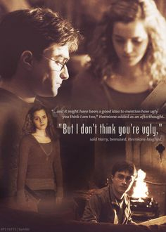 """Harry, you're worse than Ron . . . well, no, you're not,"" she sighed. I love their friendship so much."