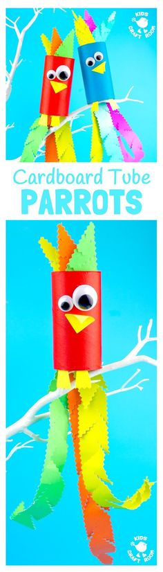 CARDBOARD TUBE PARROT CRAFT - Squawk! What a fun jungle craft for kids. A colourful tropical bird craft that gives lots of fine motor scissor skills practice.