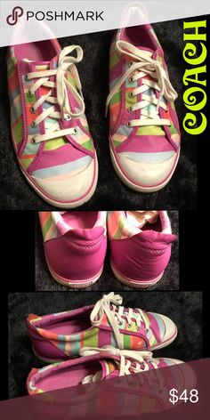 MULTI-COLOR TENNIS SHOES SUPER CUTE AN COLORFUL, COACH TENNIS SHOES, VERY GOOD CONDITION, ONLY THING I SEE WRONG WITH THEM IS ON THE LEFT SHOE, THERE IS A WHITE MARK ON THE PINK.. I GOT THESE OFF OF POSH, AN JUST TRYING TO GO THROUGH SOME OF MY SHOES..... Coach Shoes Sneakers