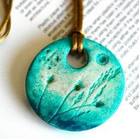 golden clay pendant | air dry clay necklace, circle shape, wearable art, jewelry, handmade ...