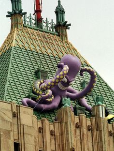 A giant Stanley the octopus is perched atop the Golden Tower of the Fisher Building for a Red Wings playoff run in 1998.