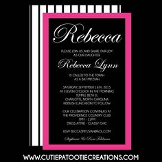 Elegant Pink and Black Bat Mitzvah Invitation with Stripes by OneWhimsyChick on Etsy