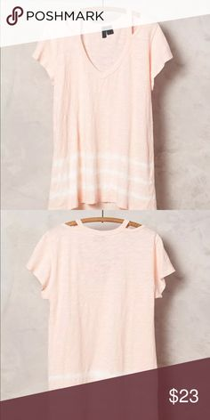 """Anthropologie Left of Center Headlands Tee Shirt Anthropologie Left of Center peach  tie dye t-shirt. Draped tunic fit. Cutout neckline. Slubbed Cotton Knit. Ribbed Trim. 100% cotton. Measurements : armpit to armpit 17"""", length 23"""" ( length on the back 27""""). Like new condition. Anthropologie Tops Tees - Short Sleeve"""