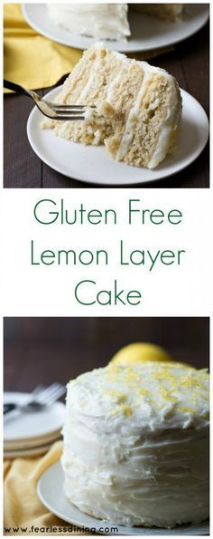 This Gluten Free Lemon Layer Cake is so easy to make. Layered with zesty lemon curd and cream cheese frosting. Recipe at www.fearlessdinin...