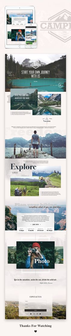 Landing page, Logo UI Camping and traveling it is the way how we can get closer to nature. Web design, site design