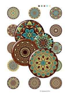 Fifteen beautiful Mandala designs in three sizes, 1.5 inch, 2 inch and 2.5 inch. Perfect for your papercrafts, scrapbooking, jewellery, compact