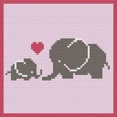 Crochet Elephant Pattern, Crochet Baby Blanket Free Pattern, Blanket Patterns, Knitting Charts, Knitting Patterns, Crochet Patterns, Crochet C2c, Crochet Bunny, Crochet Animals