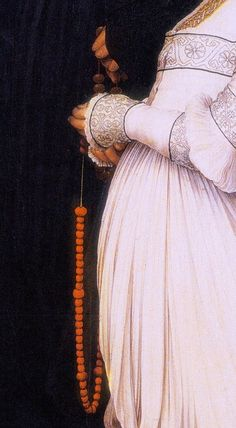 Hans Holbein the Younger, Darmstadt Madonna (detail), 1526 Renaissance, Medieval Dress Pattern, Hans Holbein The Younger, Surface Art, Dress Up Boxes, Landsknecht, Blackwork Embroidery, Larp, Period Outfit