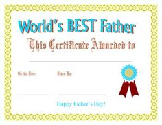 world s best dad award printable certificate along with others for