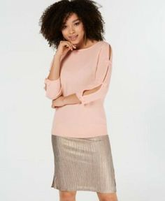 Charter Club Pure Cashmere Sweater with Bow Detail, Created for Macy's - Pink XL Layered Look, Pink Fashion, Vintage Tops, Cashmere Sweaters, Get The Look, Blush Pink, Sweaters For Women, Feminine, Pure Products