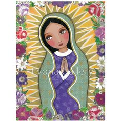 Our Lady of Guadalupe ,La Virgen De Guadalupe, Catholic Art, Christian... ($20) ❤ liked on Polyvore featuring home, home decor, wall art, mixed media painting, framed picture, framing paintings, framed wall art and framed paintings