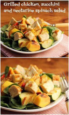 Grilled chicken, zucchini and nectarine spinach salad, picnic perfect. #glutenfree