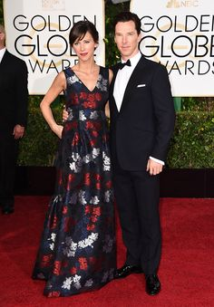 THE GOLDEN GLOBE AWARDS (January 11, 2015) ~ Benedict Cumberbatch (a presenter and also nominated for Best Actor for THE IMITATION GAME) with Sophie Hunter on the red carpet.