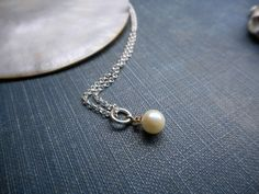 14K Gold Cultured Pearl & Diamond Pendant Necklace. Sterling Silver chain. Dainty Romantic Delicate Bridal Necklace