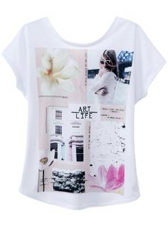 White Short Sleeve Frame Print Backless T-Shirt - Sheinside.com