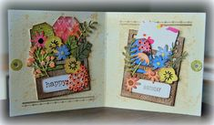A Gift Card Holder decorated with Tim Holtz/Sizzix Stitched Slots and Funky Florals 1 Thinlits