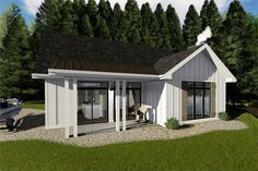 Small Farmhouse style home with 1096 square feet 2 bedrooms and 1 bath.(ThePlanCollection: House Plan #100-1354) #dreamhome #homedecor