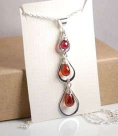 Genuine garnet necklace Sterling silver triple by JWjewelrybox