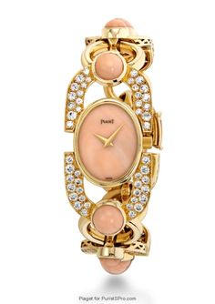 Diamond Watches Collection : Piaget Vintage - Montre Corail et Diamants - Watches Topia - Watches: Best Lists, Trends & the Latest Styles Elegant Watches, Beautiful Watches, G Shock, Piaget Jewelry, Silver Pocket Watch, Rolex, High Jewelry, Watch Brands, Vintage Watches