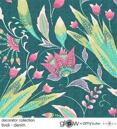 Amy Butler's Glow Decorator Sateen Fabrics - Tivoli in Denim