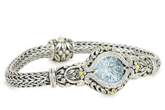 Carved Blue Topaz Sterling Silver Woven Bracelet with 18K Gold Accents   Cirque Jewels