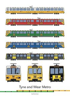 'Tyne and Wear Metro Liveries' Photographic Print by Charlie Care Train Drawing, Bus Games, Car 3d Model, New York Subway, British Rail, Blank Walls, Train Station, Colour Schemes, Newcastle