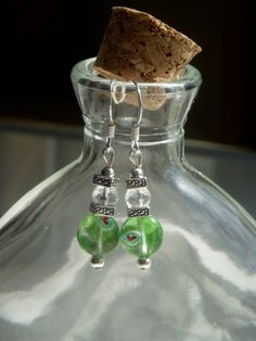 Green Beaded Hook Earrings, with Silver Foil Glass Beads and Swarovski Crystals