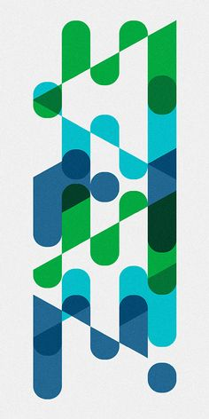 Lovely interaction between geometric shapes & color patterns.