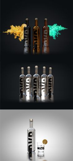 GXB Vodka bottle design and renders. Proposed concept for a client to present to board of directors. Premium Vodka, Bottle Design, Vodka Bottle, Liquor, Cocktails, Typography, Concept, Led, Graphic Design