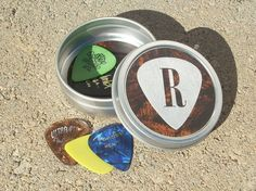 Guitar Pick Holder  Tin with Initial personalized pick by tinytins, $7.99